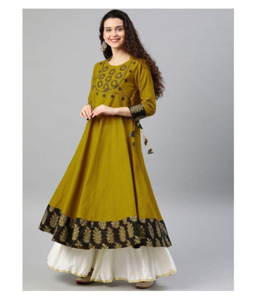 Yash Gallery Yellow Cotton Angrakha Kurti