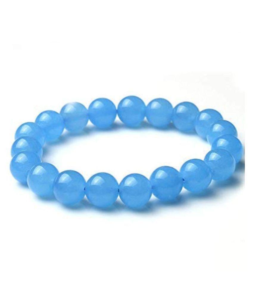 Aahana Natural Round Beads Blue Chalcedony Crystal Stone 8mm Bracelet Reiki Chakra Yoga Meditation Semi Precious Gemstones Stretchable Bracelet for Unisex