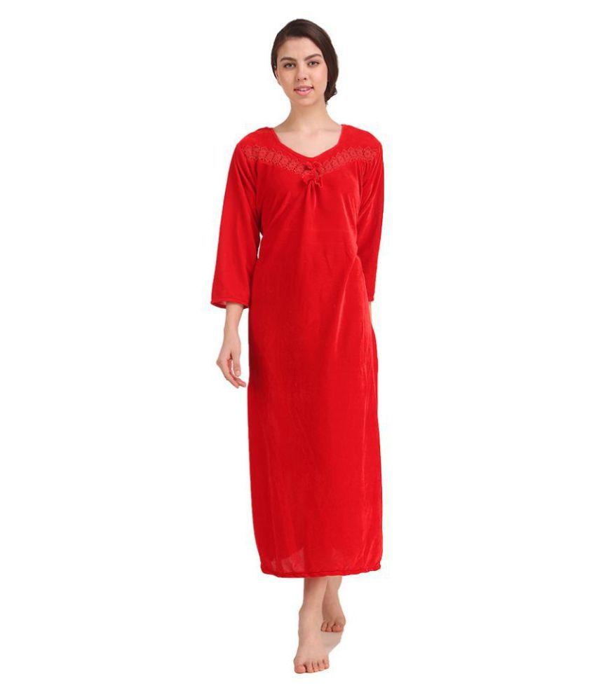 Gospel Velvet Nighty & Night Gowns - Red