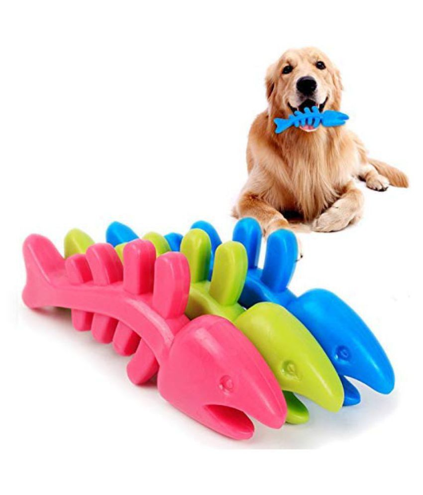 KOKIWOOWOO Non-Toxic Rubber Fish Toy for Dog/Puppy/Cat/Kitten - 1 Pc (Multicolor)