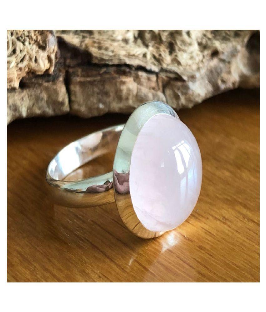 7.5 Ratti Rose quartz Silver Ring for Unisex by Ratan Bazaar \n