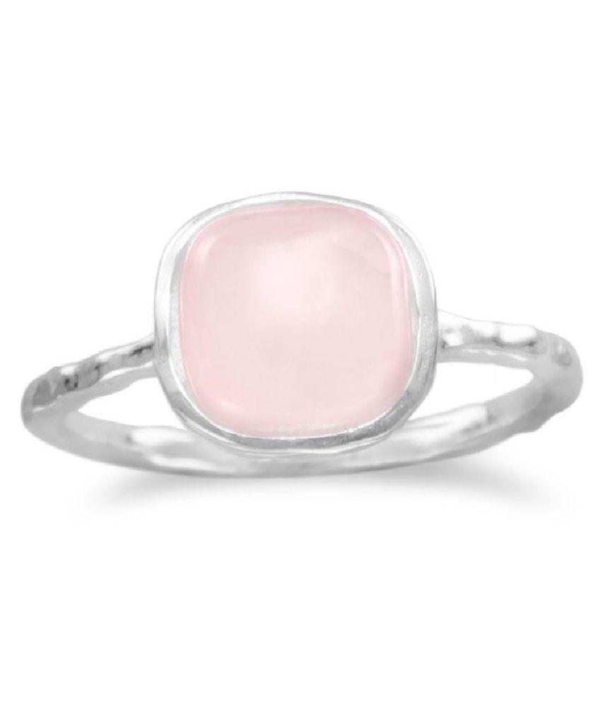 8.5 Carat Lab Certified  Silver Rose quartz  Ring for unisex by Ratan Bazaar