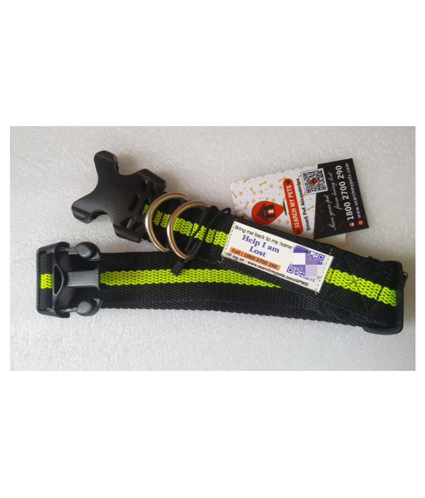 Anti-Lost Dog's Collar, Best Comfortable Neon Green & Black Color Pet Collar