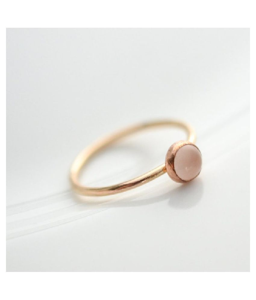Gold Plated 7 Carat Classic Rose quartz Ring by Ratan Bazaar