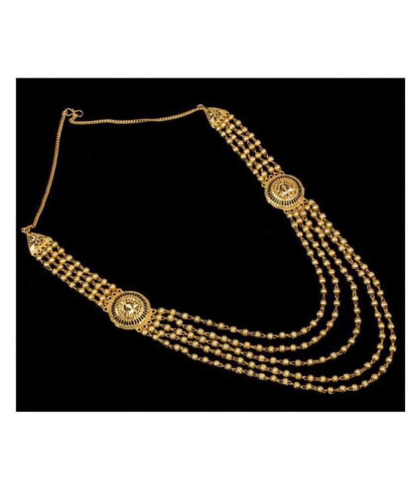 Piah Alloy Golden Traditional Necklace Long Haram