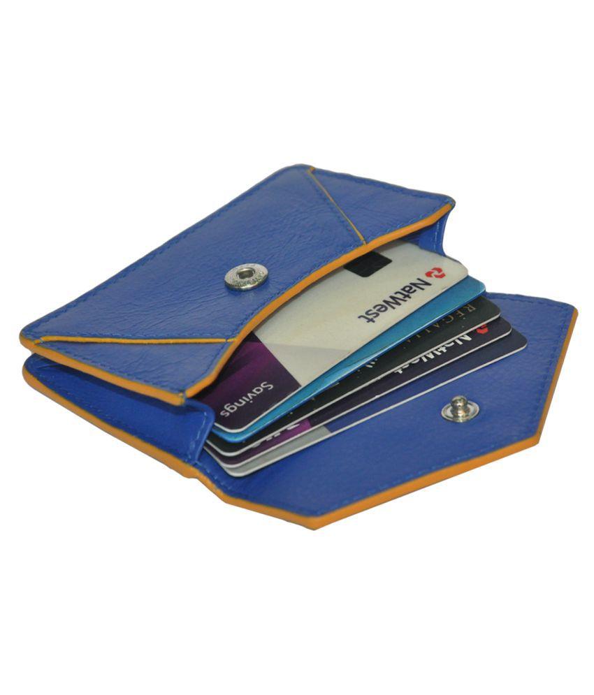 RFID Protected Genuine Blue Leather Mini Card Holder