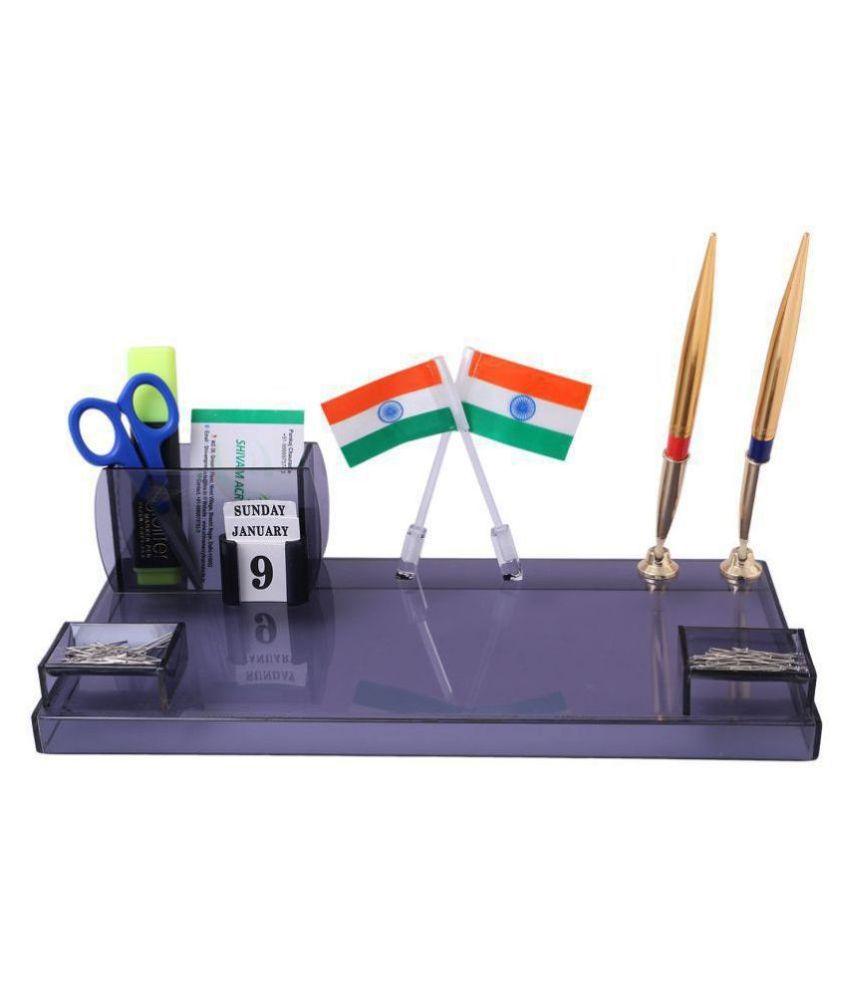Rasper Executive Acrylic Pen Stand with Mountable Flag