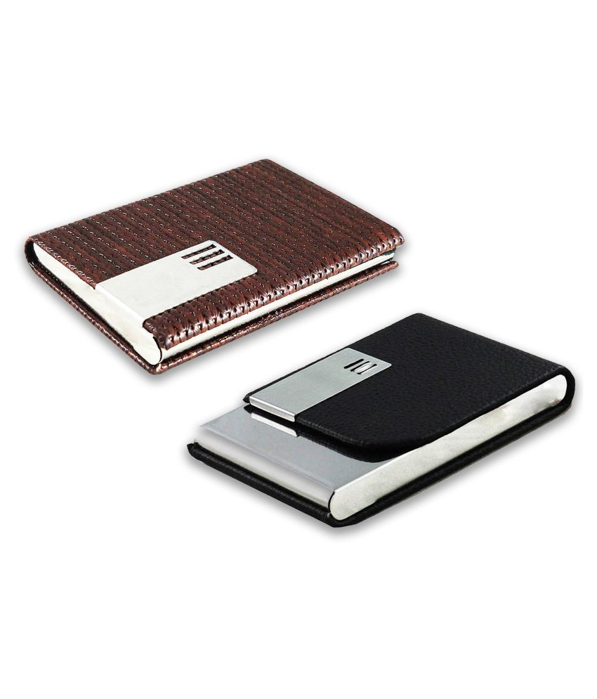 auteur A17-52  Multicolor Artificial Leather Professional Looking Visiting Card Holders for Men and Women Set of 2 (upto 15 Cards Capacity)