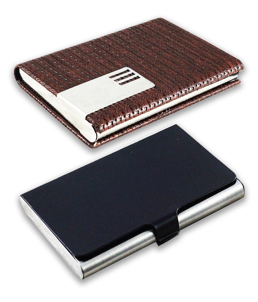 auteur A17-57  Multicolor Artificial Leather Professional Looking Visiting Card Holders for Men and Women Set of 2 (upto 15 Cards Capacity)