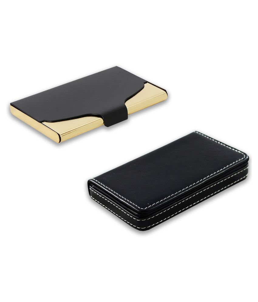 auteur A18-51  Multicolor Artificial Leather Professional Looking Visiting Card Holders for Men and Women Set of 2 (upto 15 Cards Capacity)