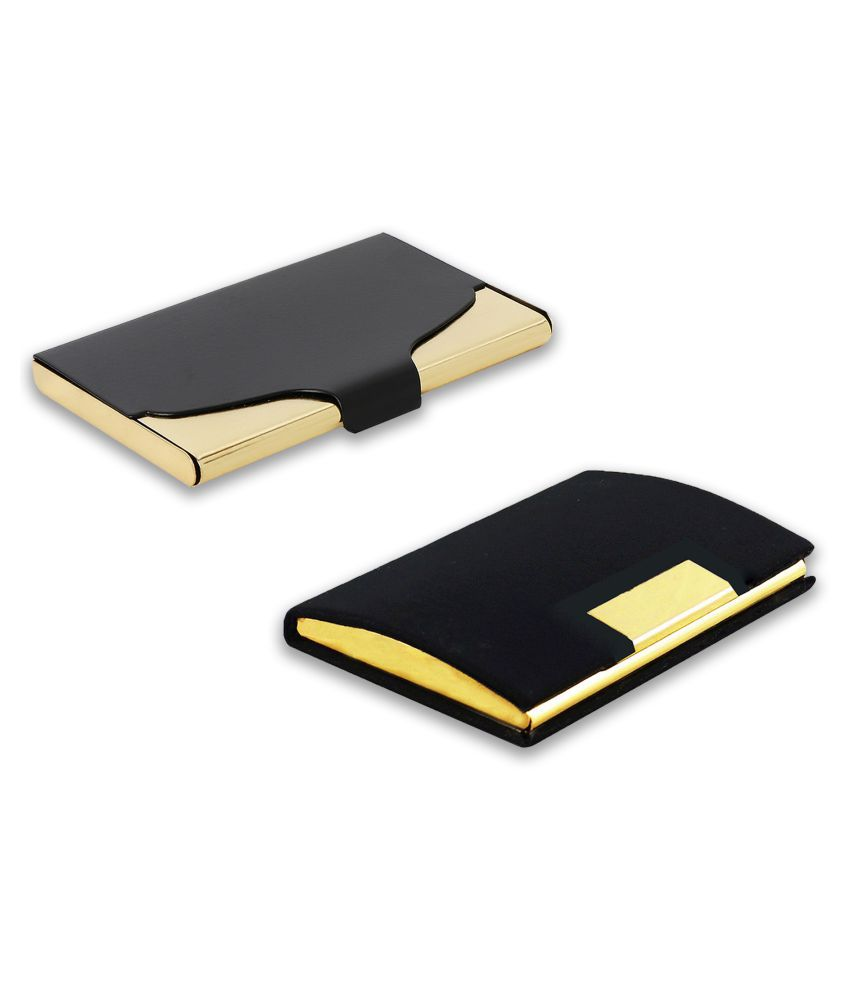 auteur A18-62  Multicolor Artificial Leather Professional Looking Visiting Card Holders for Men and Women Set of 2 (upto 15 Cards Capacity)
