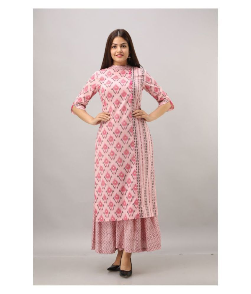 Fabric Fitoor Cotton Kurti With Sharara And Gharara - Stitched Suit