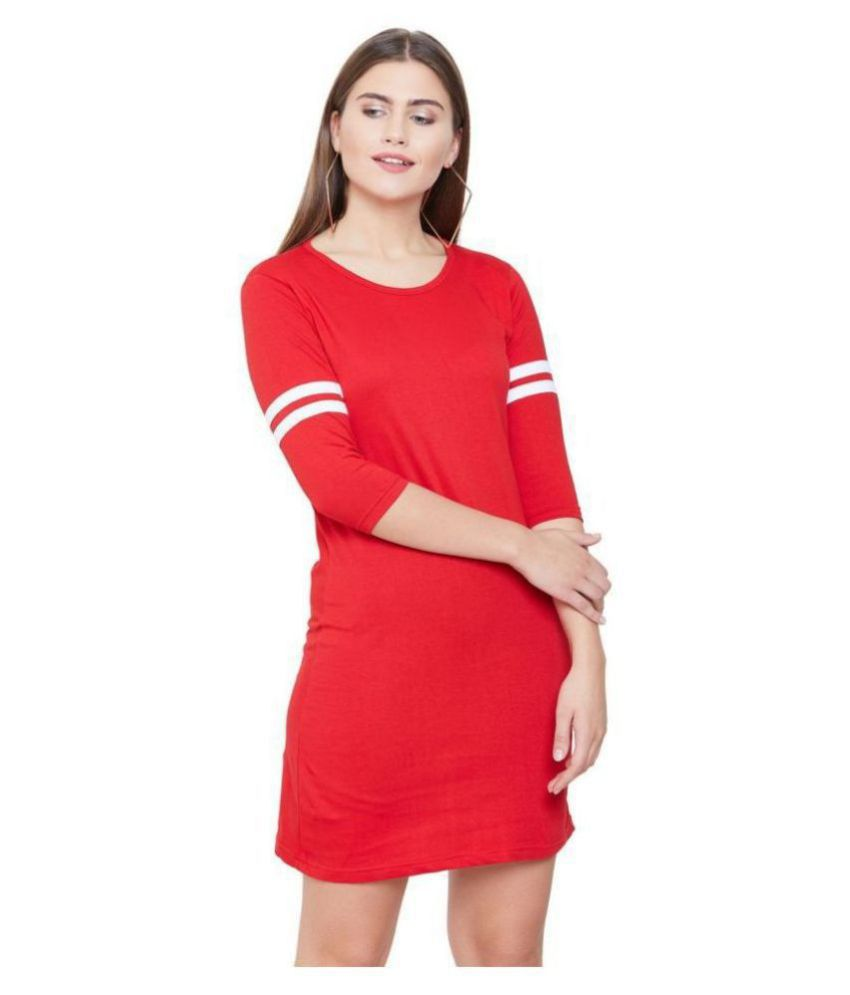 Jhankhi Cotton Red Bodycon Dress