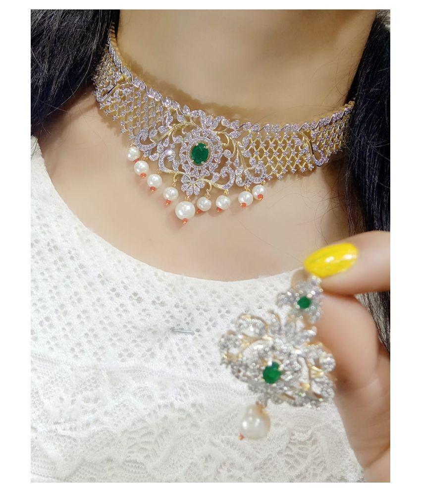 Navya Collections Alloy Green Contemporary/Fashion Necklaces Set Choker