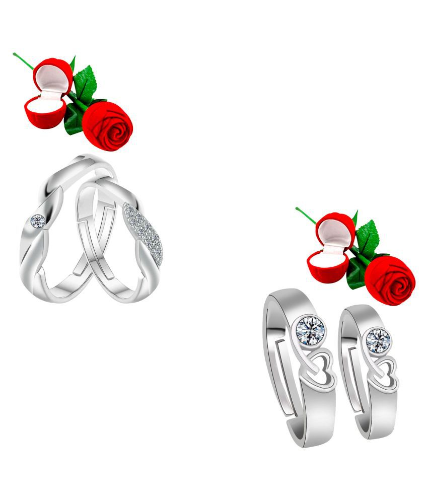 Adjustable Couple Rings Set for lovers  with 2 Piece Red Rose Gift Box Silver Plated Designer Ring for Men and Women
