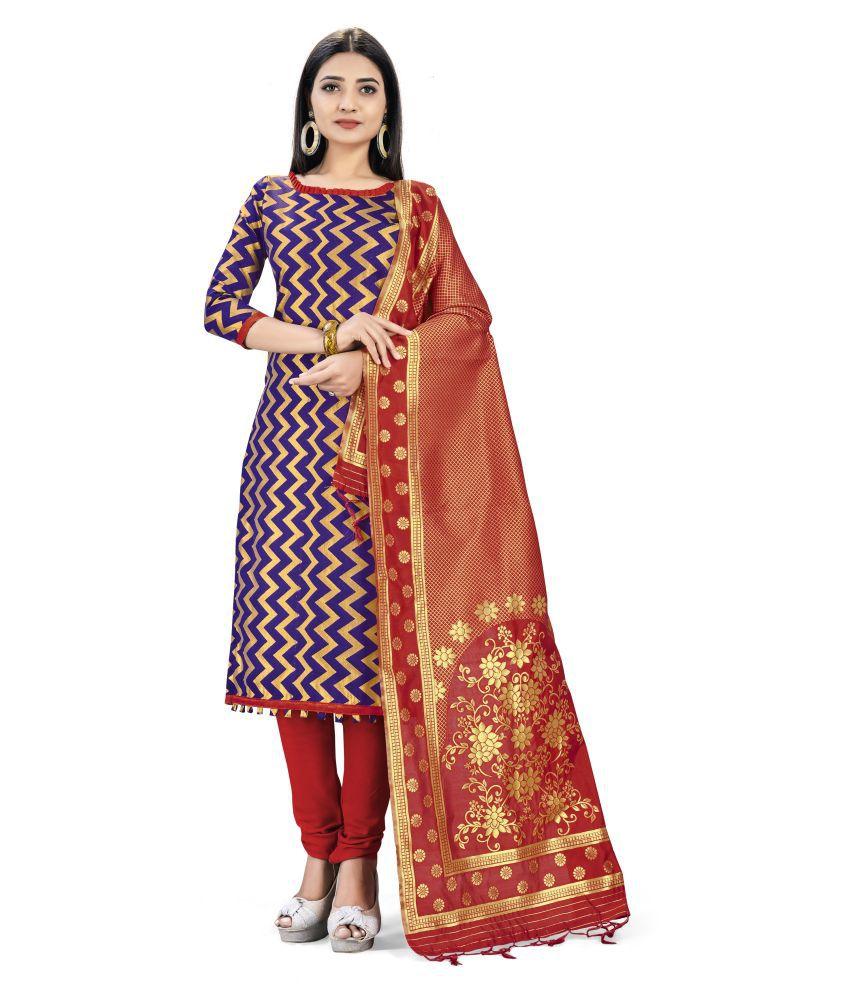 Maroosh Blue Banarasi Silk Unstitched Dress Material