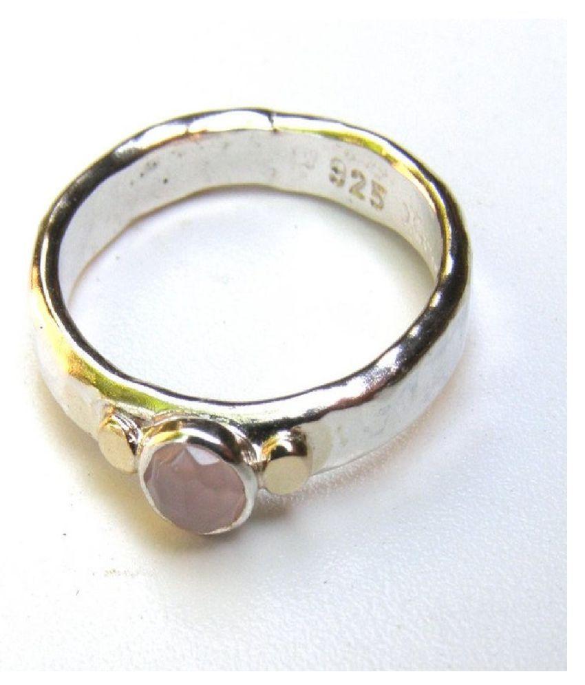 5.5 ratti stone pure Rose quartz Silver Ring for unisex by  Kundli Gems \n