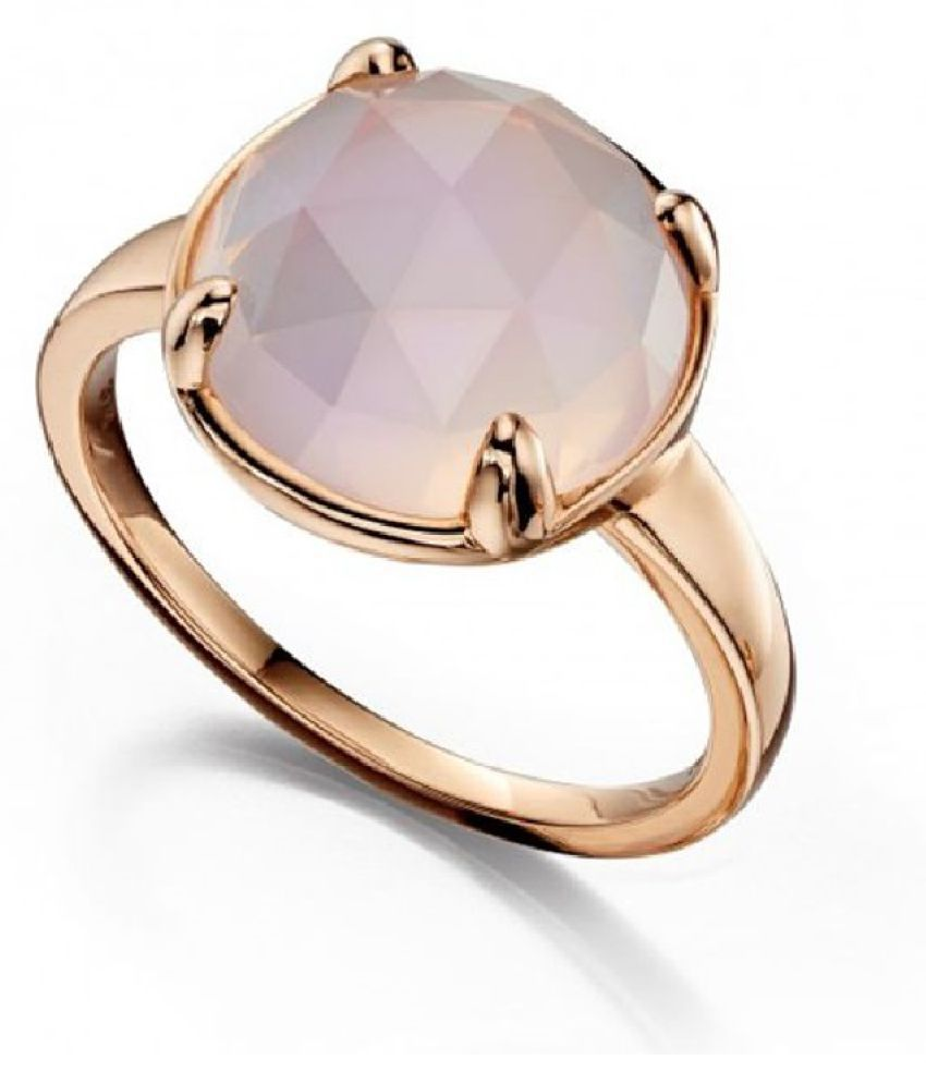 7.5 ratti stone pure Rose quartz Gold Plated Ring for unisex by  Kundli Gems \n