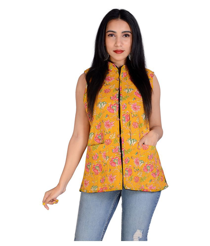 Apratim Cotton Yellow Ethnic Jacket