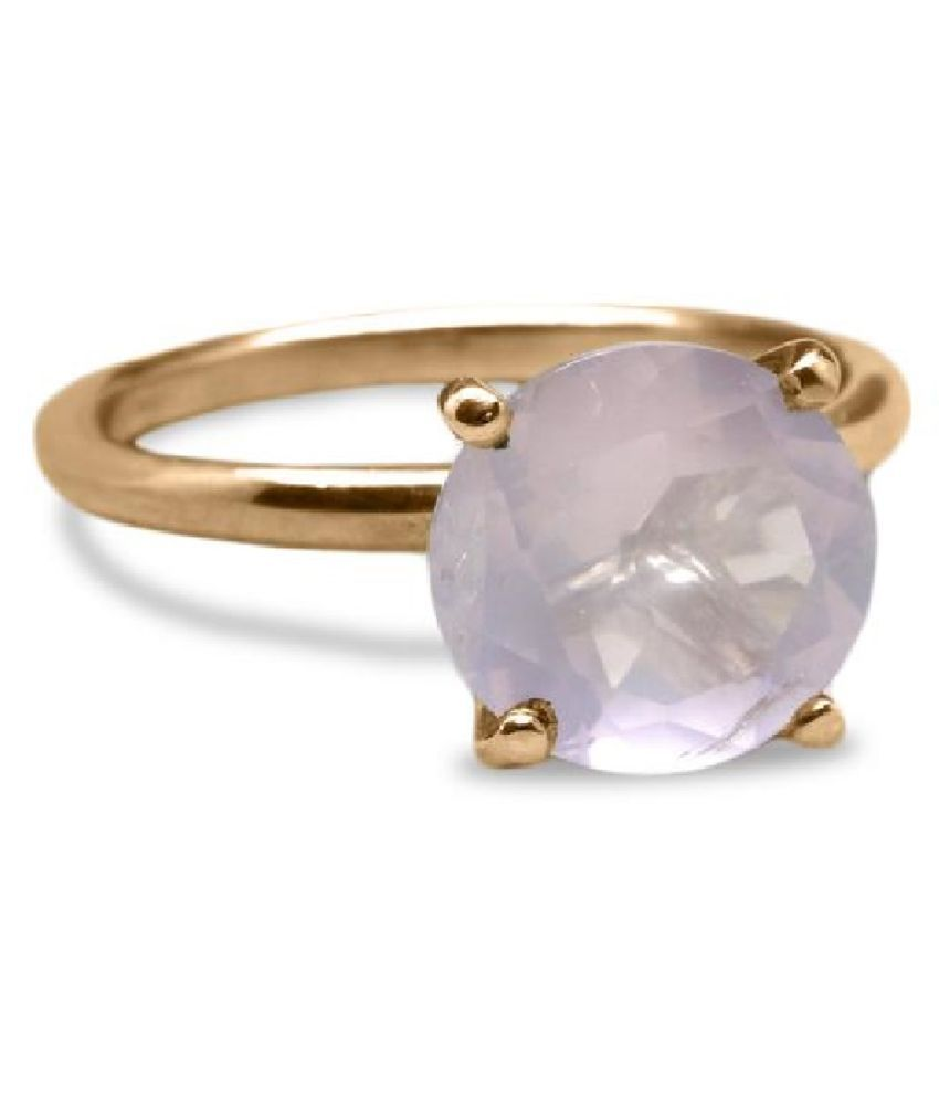 Natural Rose quartz 8 Carat Gold Plated Ring  by  Kundli Gems \n
