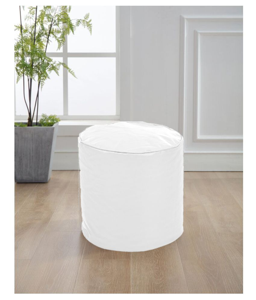 Style Homez Premium Leatherette Round Bean Bag Ottoman Stool L Size Elegant White Color Cover Only