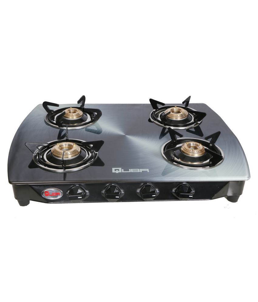 QUBA Stainless Steel 4 Burners Black Powder Coated Mild Steel Body Gas Stove in Silver Color Arc Shaped Designer Glass Top with Pure Brass Burners Automatic Ignition