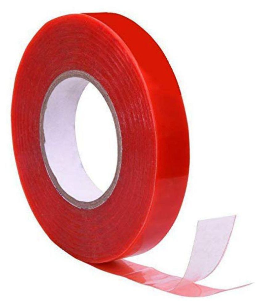 Hazzlewood Double Sided Foam Dispenser Cello Tapes (Manual)  50 mt 1 inch (Set of 1, Red)