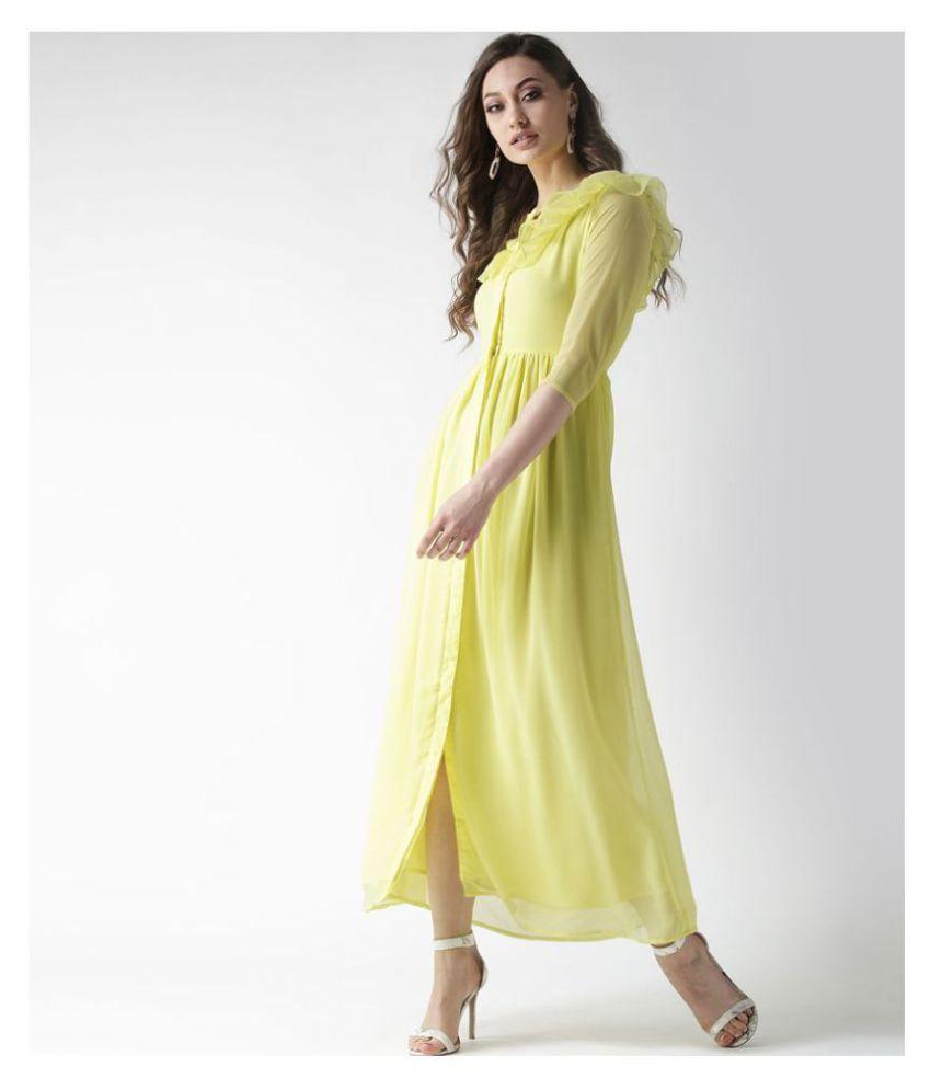 La Zoire Georgette Yellow Regular Dress