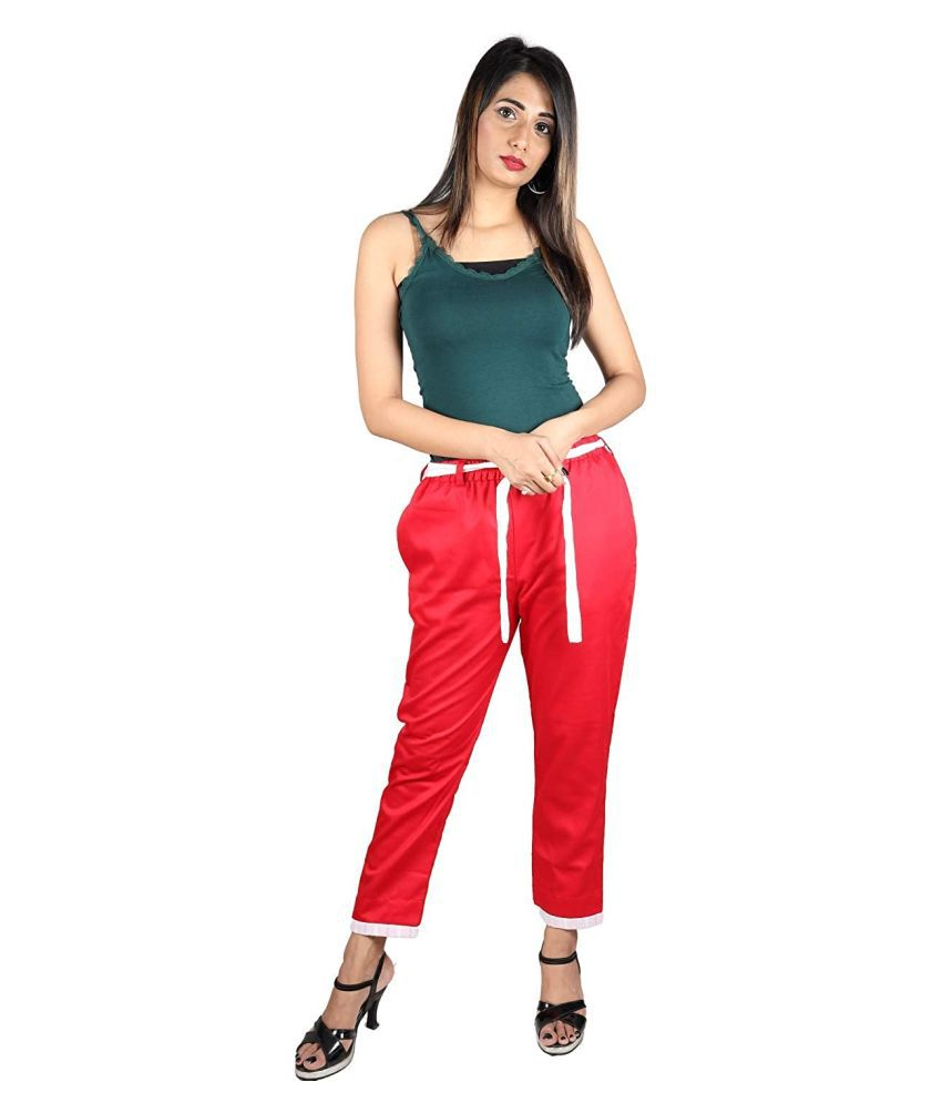 SK Creation Cotton Jeggings - Red