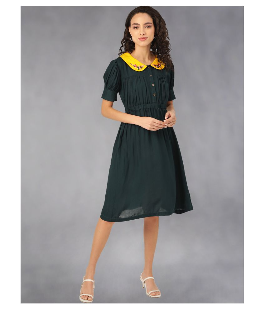 The Dry State Rayon Green A- line Dress