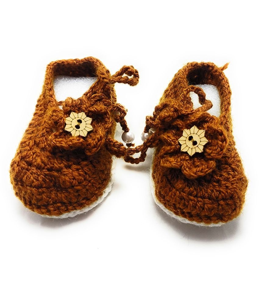 Kamath Group Hand Knitted Crochet Baby Girl Booties (3-12 Months)