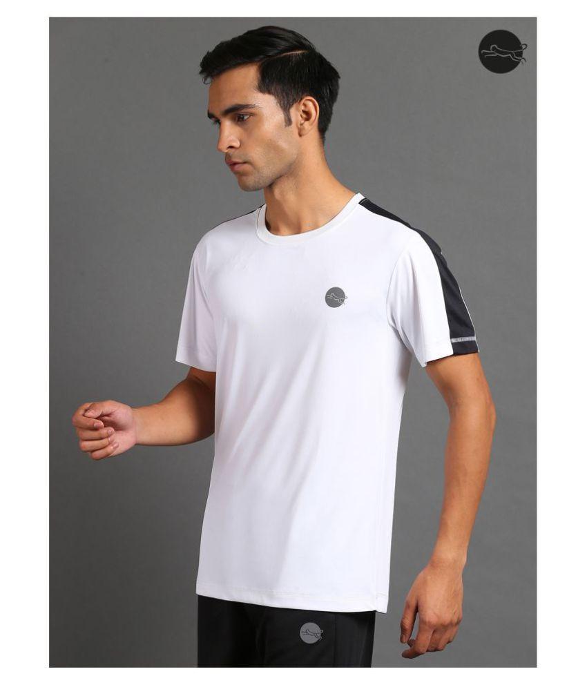 FITMonkey White Polyester T-Shirt