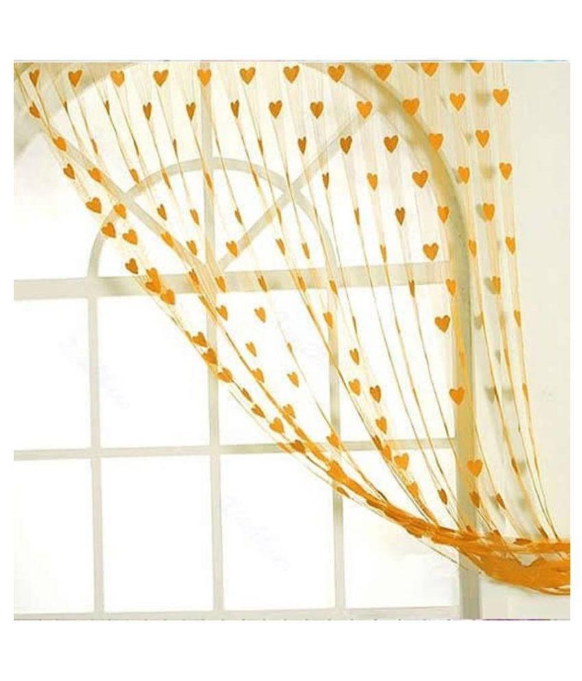 Adhvik Single Door Eyelet Polyester Curtains Orange