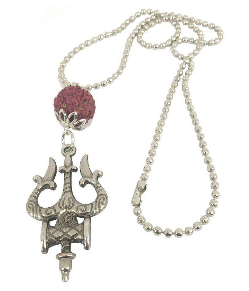 Stylewell AR0029 Metal Fancy & Stylish Brown Beads Rudraksha Solid Oxidize Mahadev Bolenath Mahakal Lord Shiva Trishul With Damru Locket Pendant Necklace With Chain Religious Spiritual Jewellery Set