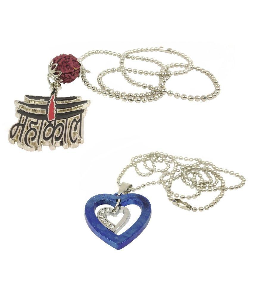 Stylewell CMB7029 Combo Of Metal Brown Beads Rudraksha Lord Shiva Trishul Mahadev Bolenath Mahakal Pendant And Valentine's Day I Love You Heart Diamond Nug Romantic Love Locket Necklace With Chain