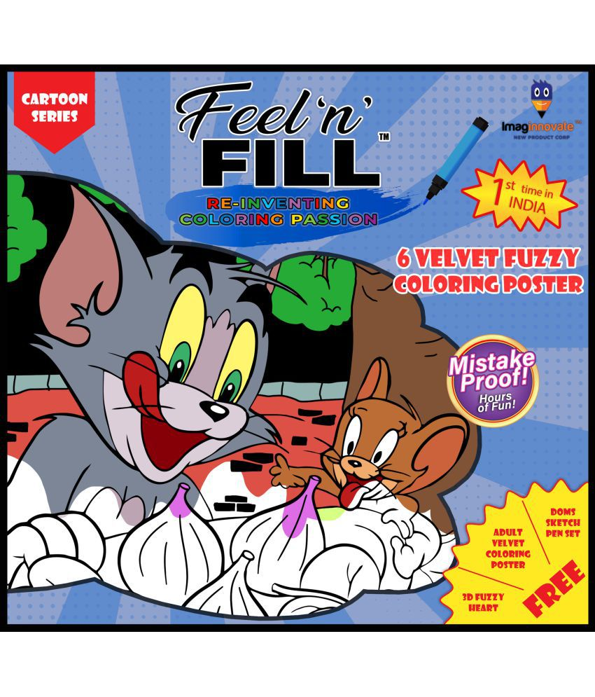 Feel'N'Fill Value Pack of KIDS 6 Fuzzy Velvet Cartoon Coloring Posters with inspirational stories behind each poster