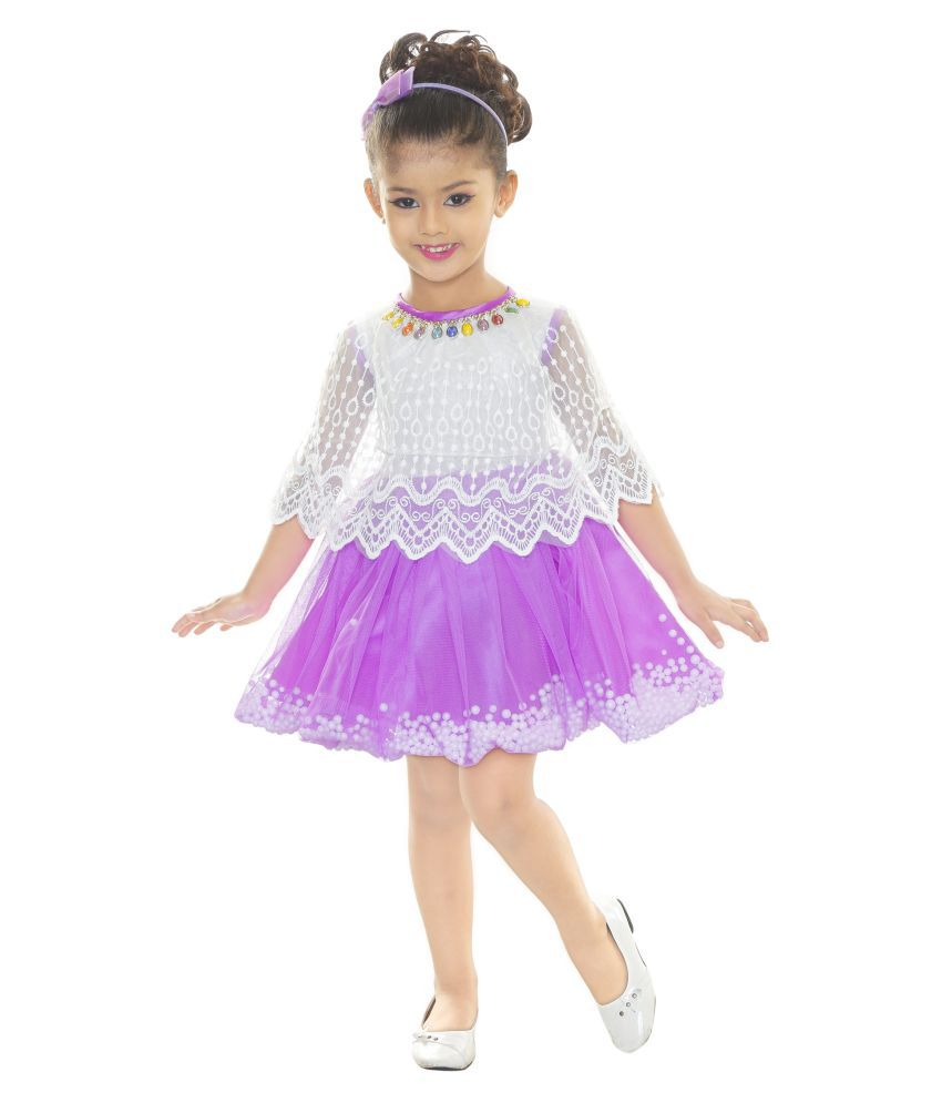 Mojua Girls Midi/Knee Length Party Dress  (Multicolor, Fashion Sleeve)