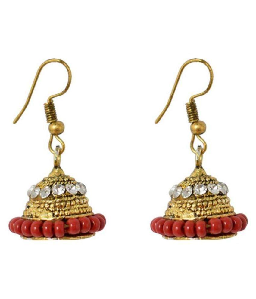 Jaishree Jewels Traditional Indian Ethnic Bollywood Style Red Beads kundan Hanging Jhumki Earring