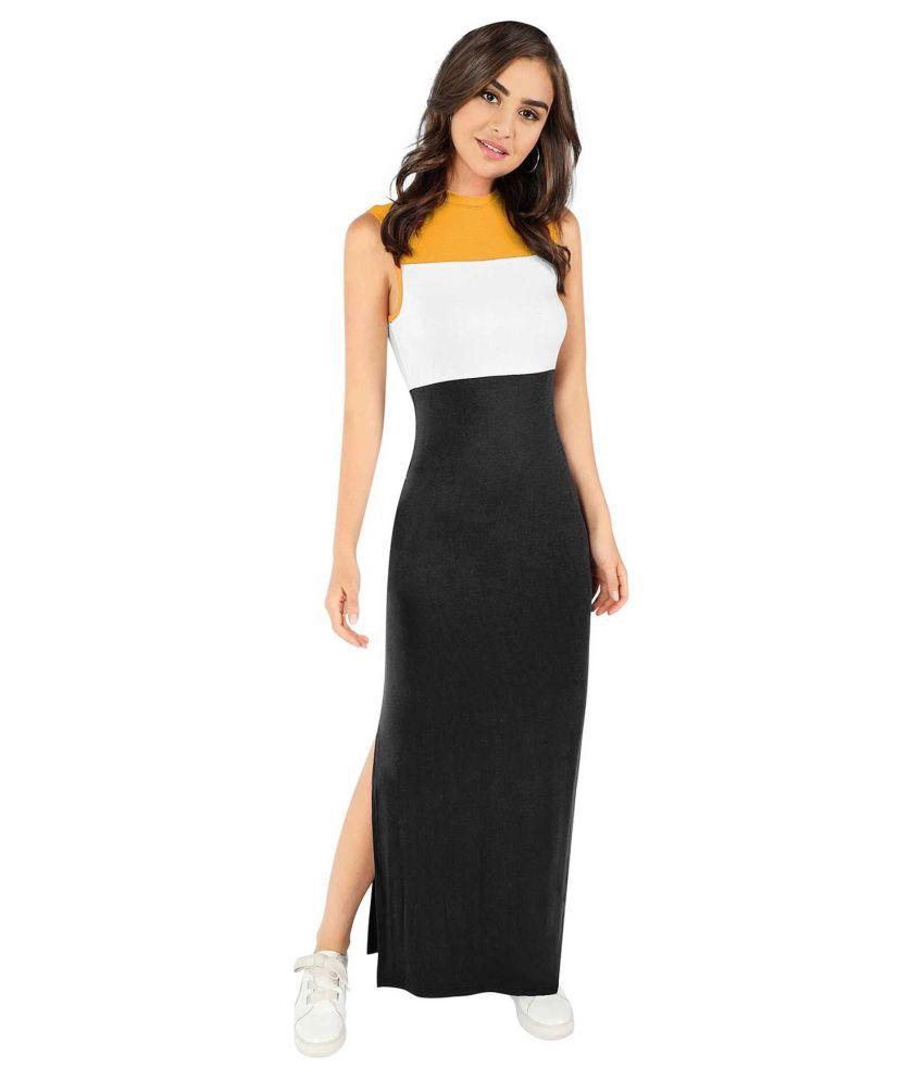 WE-MAKE TRADERS Cotton Lycra Multi Color Side Slit Dress