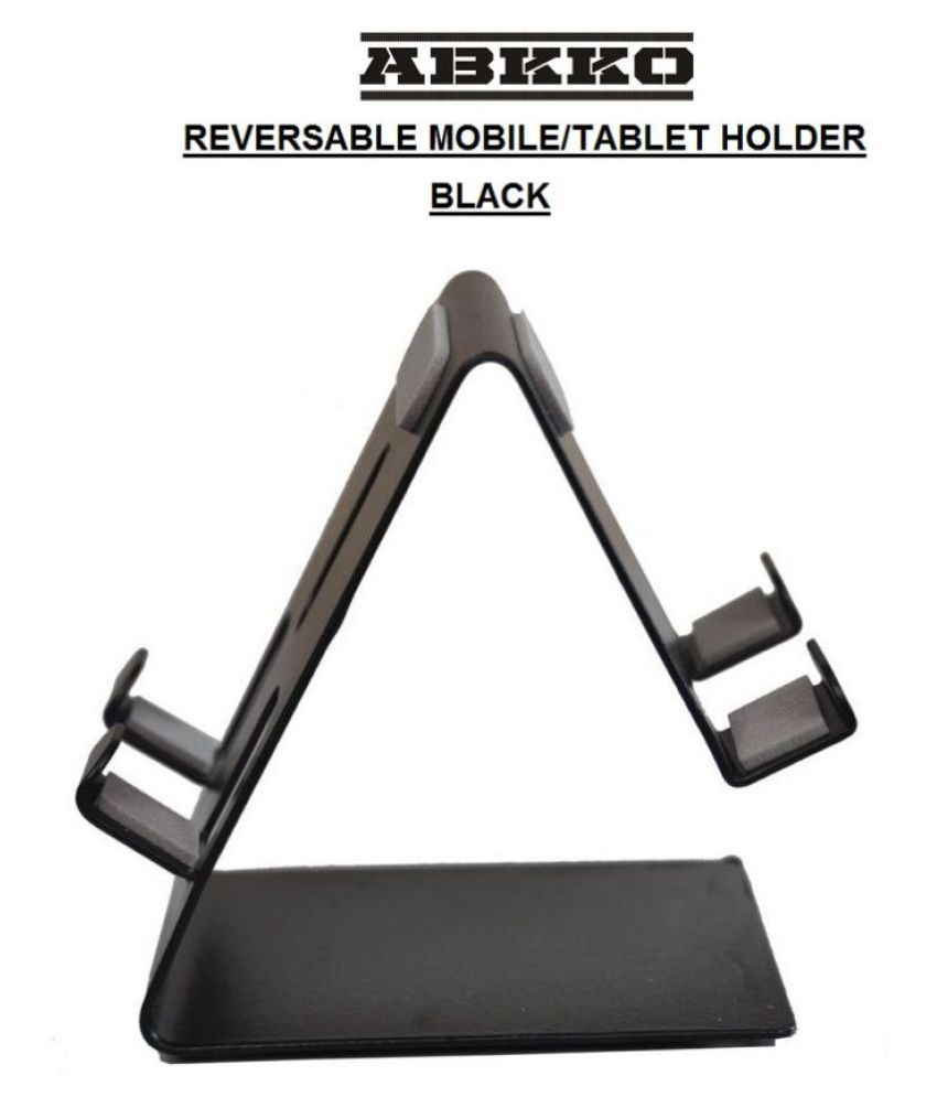 Abkko Reversable Metal Mobile Stand for all Mobiles and Tablets (Black)
