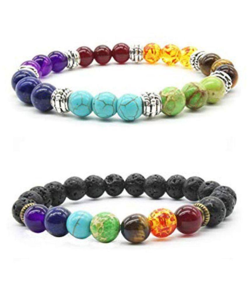 8MM Seven Chakra Bracelet 2 pcs Set Multi Color Natural Agate Stone Bracelet