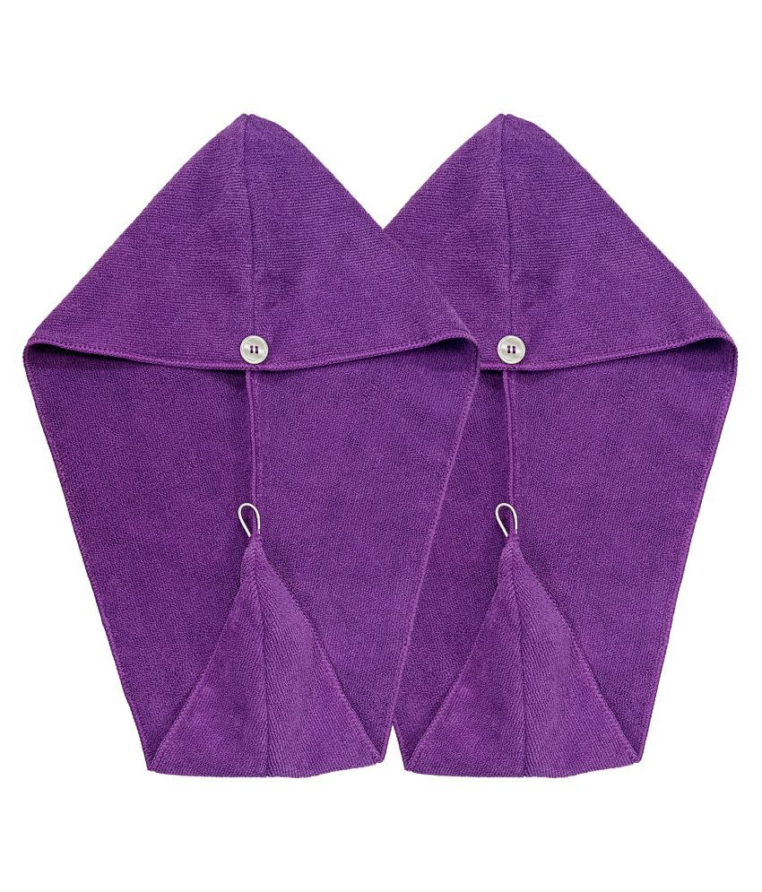 SOFTSPUN Hair Cap, 2 Pcs - 70X25 cm - Purple - 340 GSM! Super Absorbent, Quick Dry Hair Turban for Drying All Kinds of Hair
