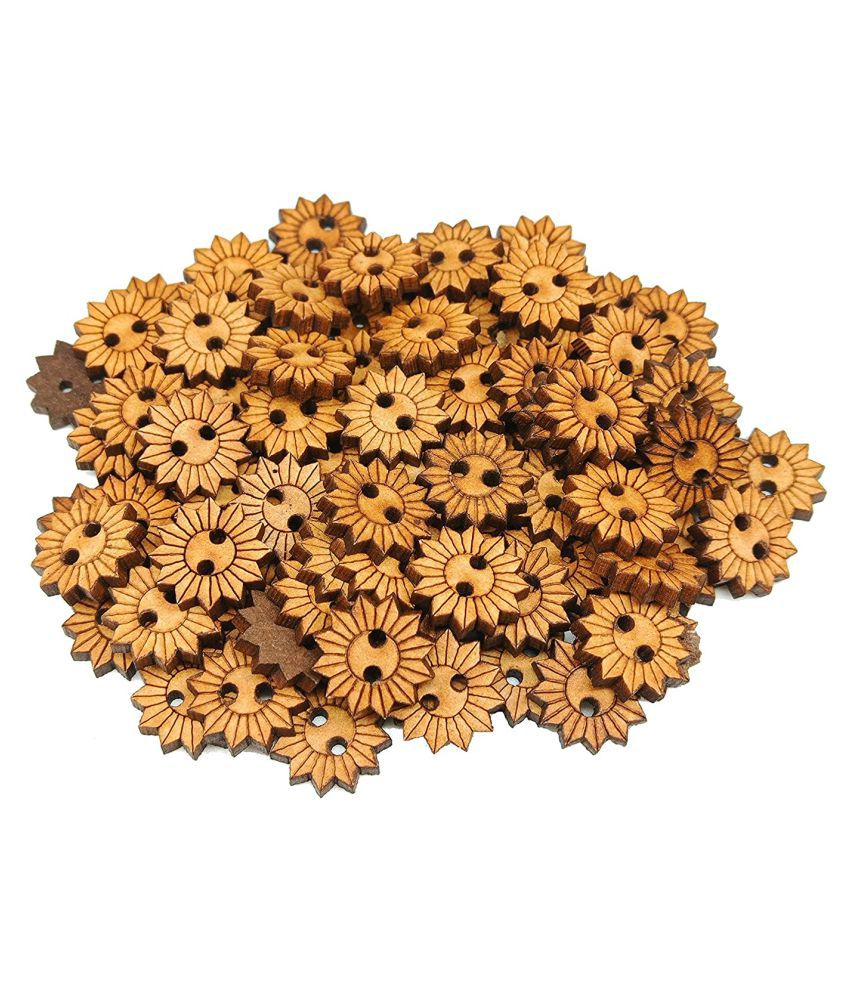 PRANSUNITA Designer Wooden Collection Buttons 15 mm, Two Hole Sunflower Shape for Ethnic Dresses, Sewing, Craft and Home Décor-Brown Color,Natural Chestnut Made - Pack of 95 Pcs (Small Sunflower)