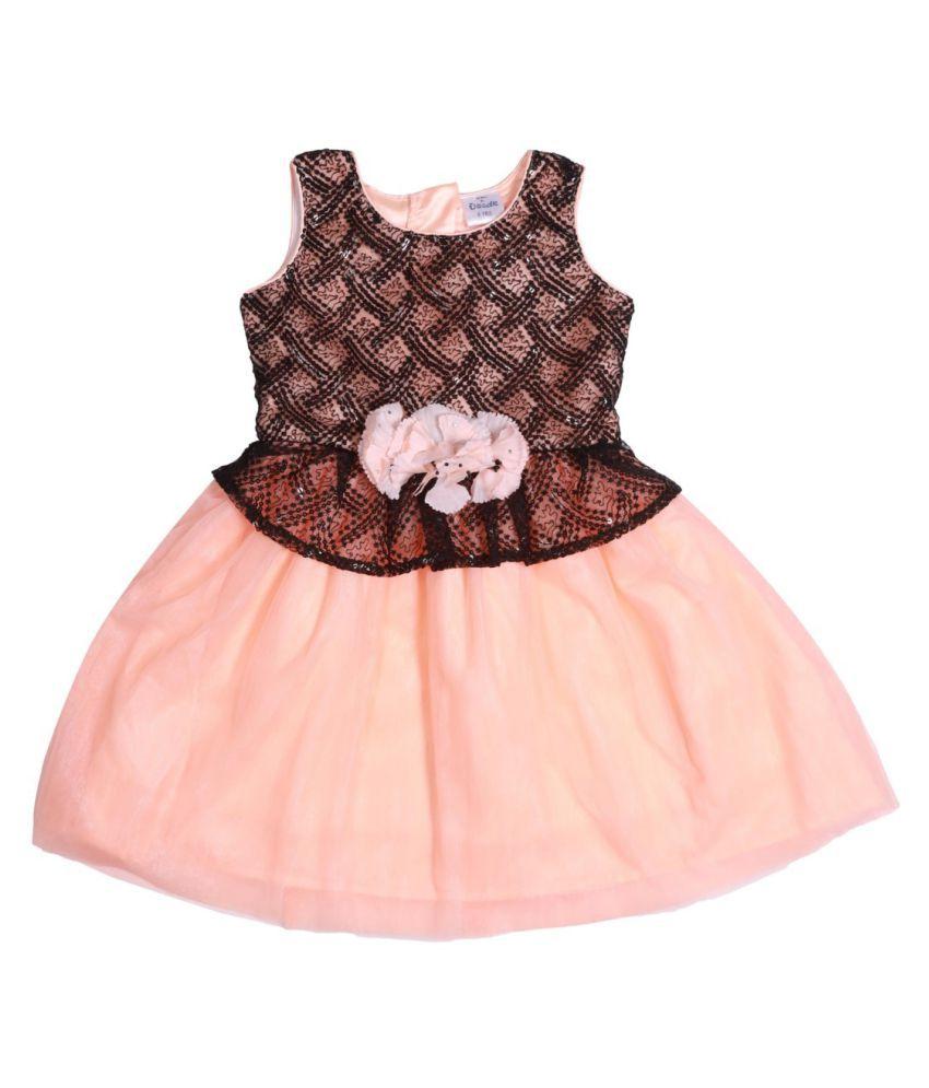 Black Top Sequins & Peach Net Bottom Dress