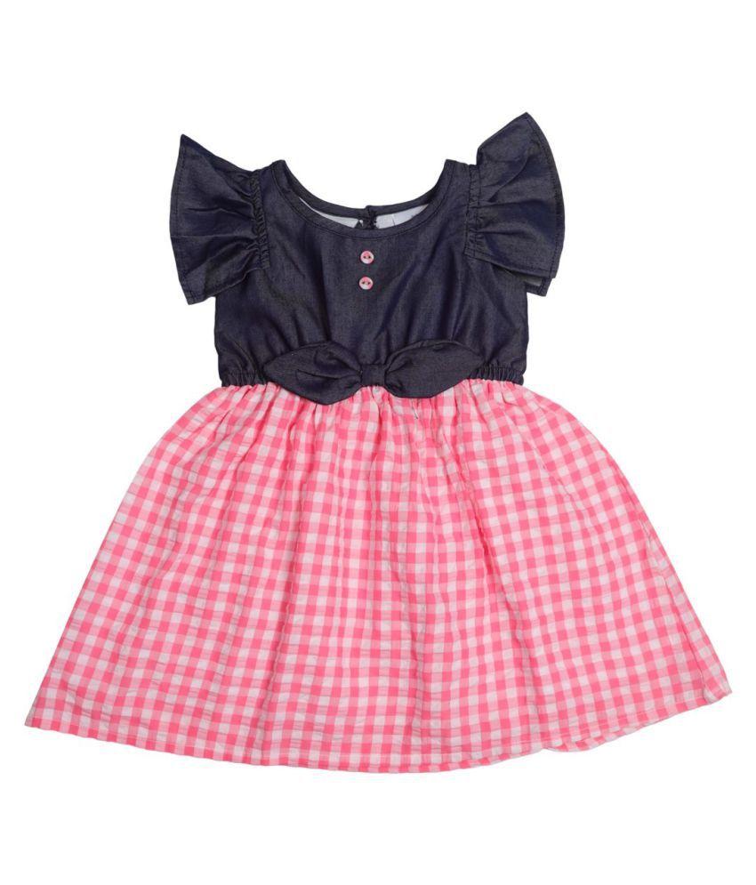 Chambray Top & Pink Checked Seersucker Bottom Dress