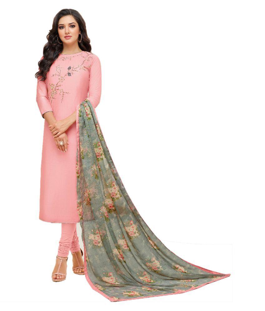 Maroosh Pink Cotton Silk Straight Semi-Stitched Suit