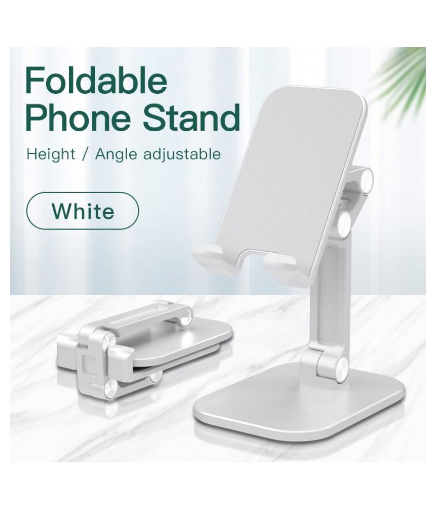 ASTEE  Cell Phone Stand for Desk, Fully Foldable Phone Stand, Adjustable Phone Holder for Desk Metal Rod Desktop Phone Holder Cradle Dock Compatible with 4