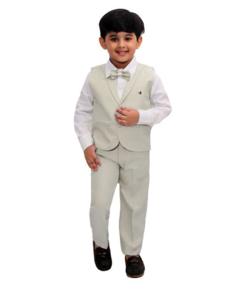 Fourfolds Ethnic Wear 3 Piece Suit Set with Bow-Tie, Shirt, Trousers and Waistcoat for Kids and Boys_FC045