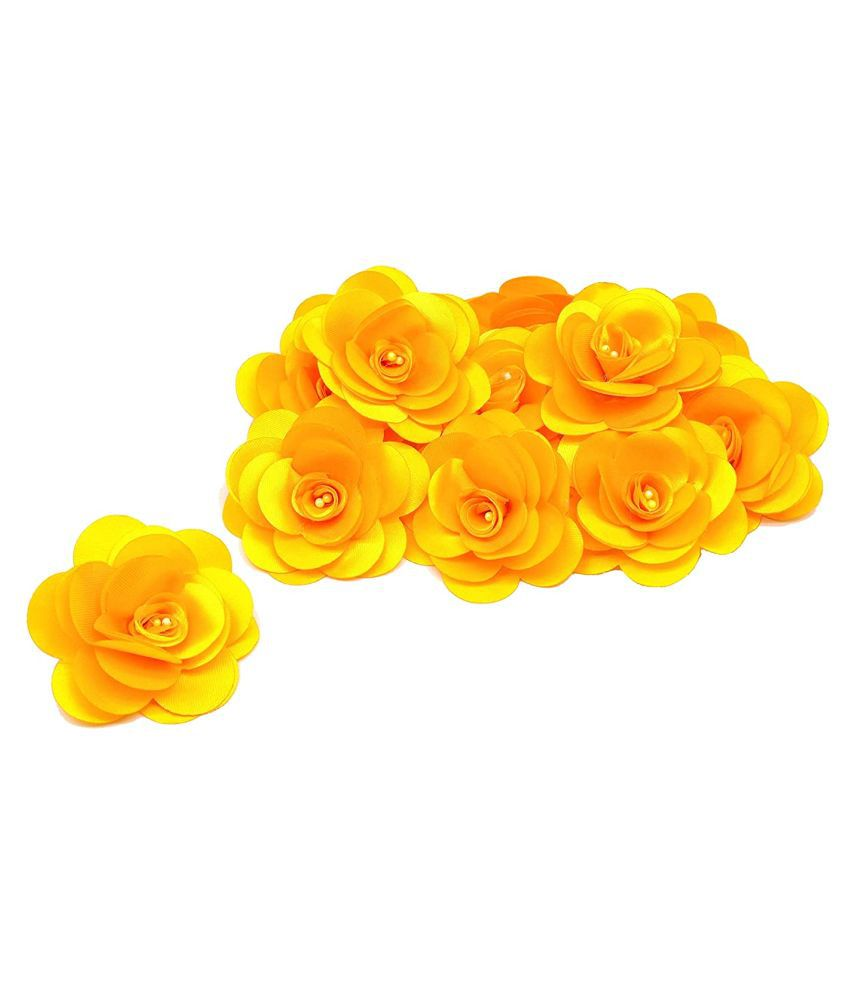 PRANSUNITA Stemless Satan Rose Flower Heads, Handmade Artificial Roses for Dresses Weddings, Valentine, Party Baby Shower Home Decoration Crafts, Pack of 10 pcs Color -Golden Yellow