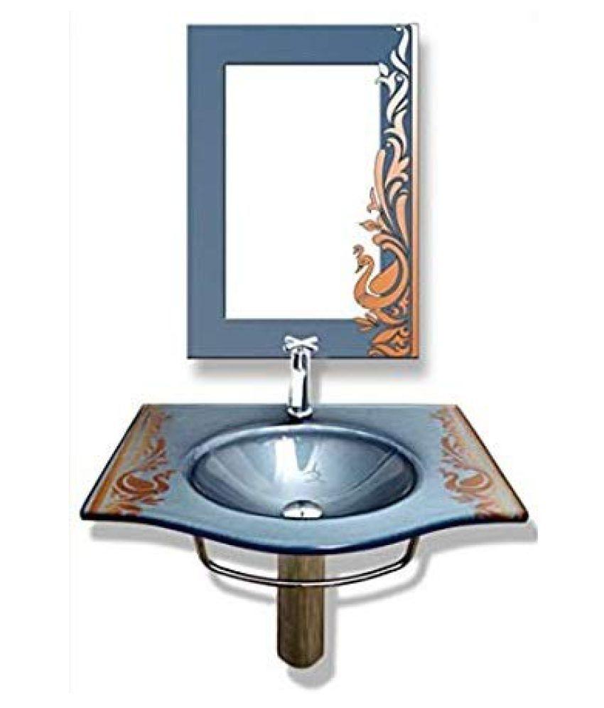 ARANAUT Multi-Colour Toughened Glass Pedestal Wash Basins